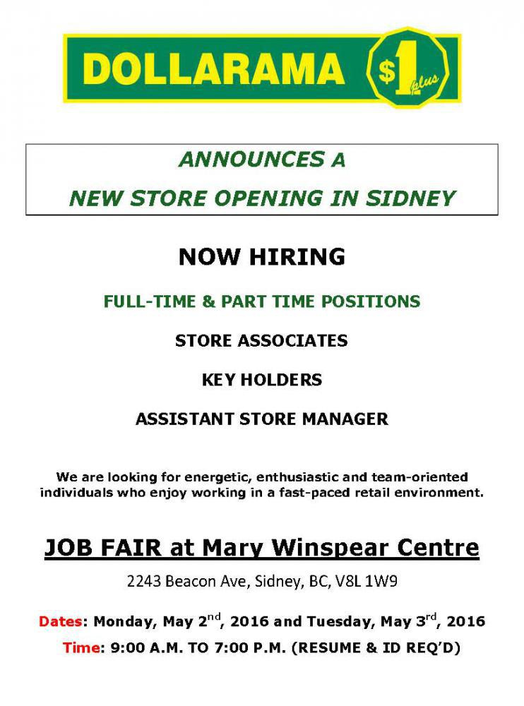 Sidney dollarama job fair mary winspear for New anthropologie stores opening 2016